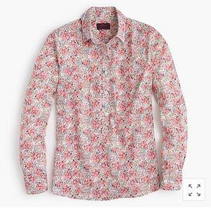 J. Crew Liberty Fabric Popover Shirt Pink Petals